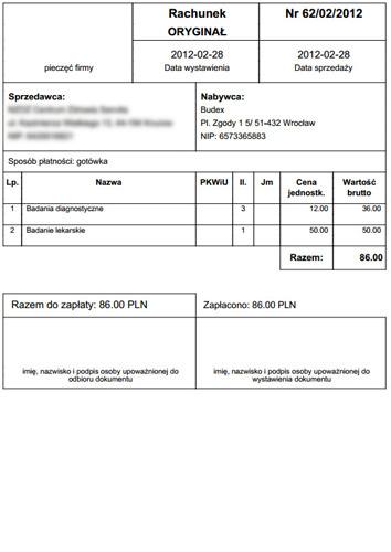 Kartoteka pacjentów - przykład wygenerowanego rachunku za usługę (format .pdf)