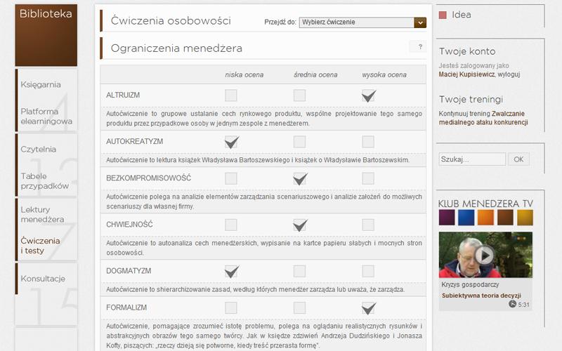 Platforma Elearningowa - ćwiczenia do wypełnienia przez użytkownika