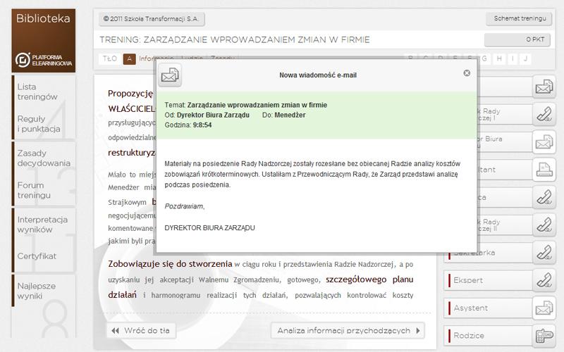 Platforma Elearningowa - przeglądanie wiadomości o innych potencjalnych graczy